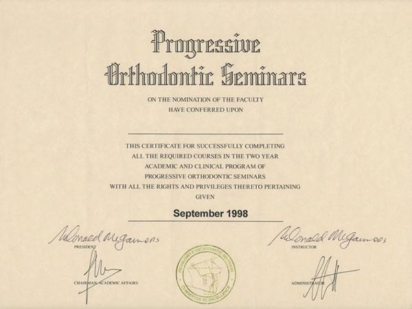 acreditaciones clinica ODC progressive orthodontic Seminars