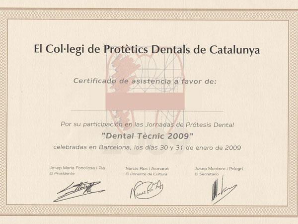 acreditación Col-legi de Protètics Dentals de Catalunya